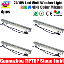 Nueva Función 4 Unids/lote 24*4 W RGBW 4in1 Led Al Aire Libre Arandela de La Pared Luz Led Light Bar DMX Modo, Led Luz de la Etapa RGBW 90 V-240 V