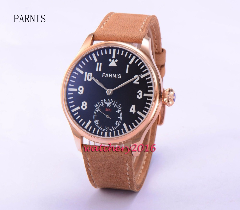 Fashion 44mm Parnis black dial rose golden case 6498 Hand Winding Movement Men's Wrist Watch corgeut 44mm white dial rose golden case hand winding 6498 mens watch