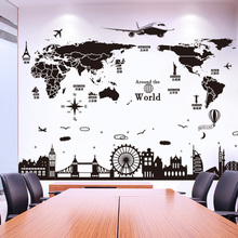 [SHIJUEHEZI] World Map Wall Stickers for House Living Room Bedroom Dorm Decoration DIY Black Color Buildings Wall Decals