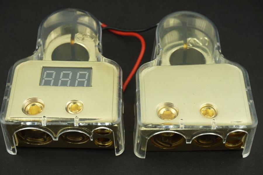 2 PCS Lot ALLOY VOLTAGE DIGITAL LED DISPLAY CAR BATTERY TERMINAL POSITIVE NEGATIVE POLE Free Shipping