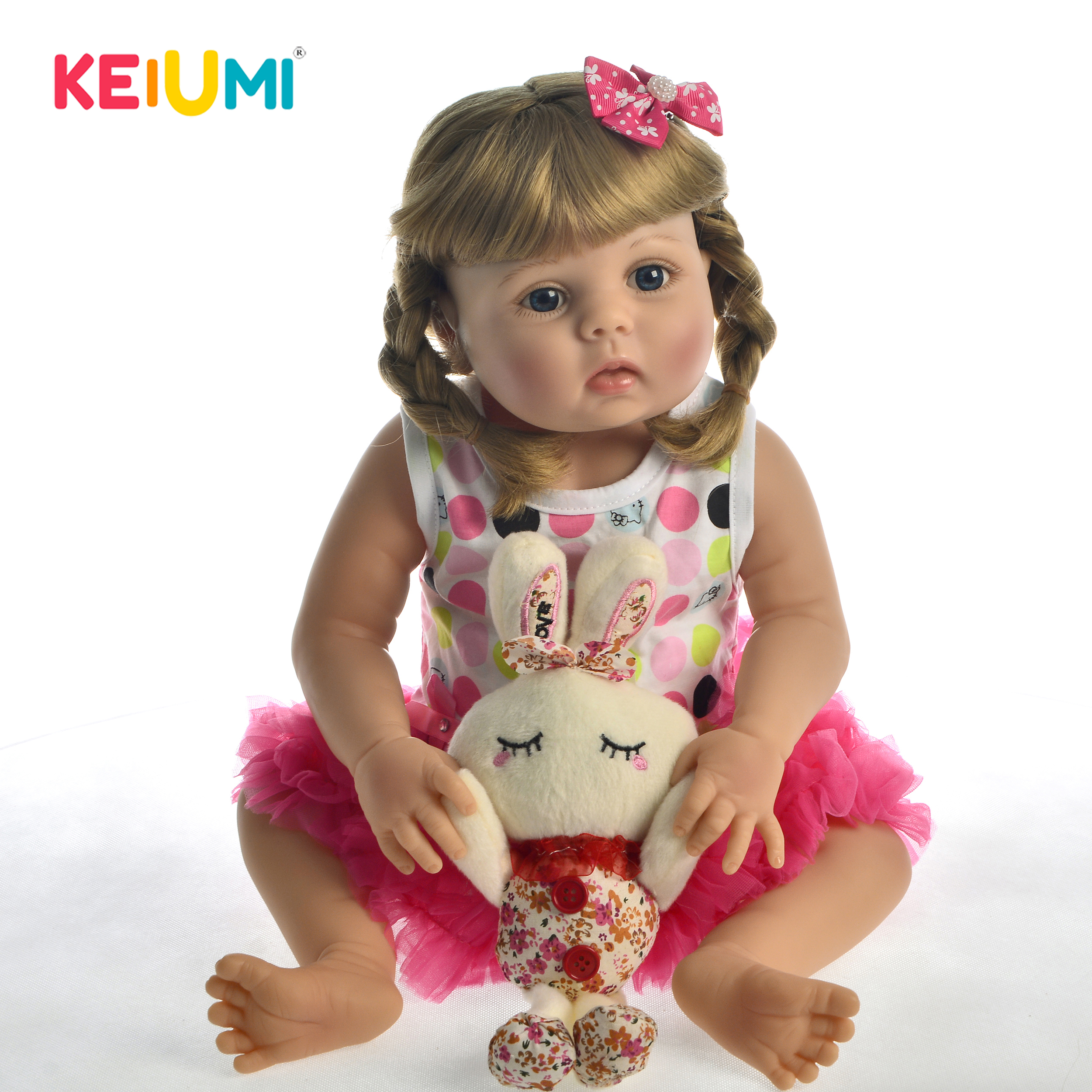 Nouveauté 23 ''57 cm Silicone corps complet bébé vivant poupée vinyle personnaliser bricolage cheveux Adorable princesse fille poupée Boneca pour les enfants
