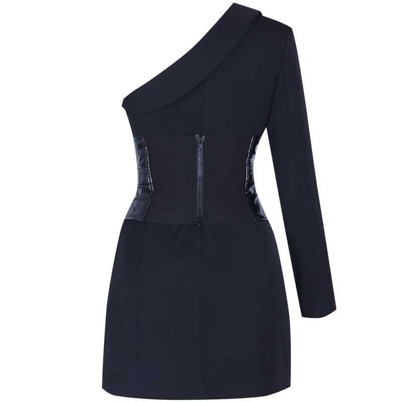 Ocstrade сексуальное облегающее платье 2019 Новое поступление сезон: весна–лето Для женщин с длинным рукавом на одно плечо черный вечерние ночное Клубное платье