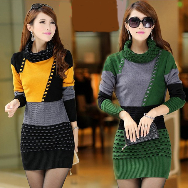 Woman Winter Dress  Knitted Dress Turtleneck Long Sleeve Women Sweater Dress Sweaters and Pullovers Plus Size Women Clothing 4