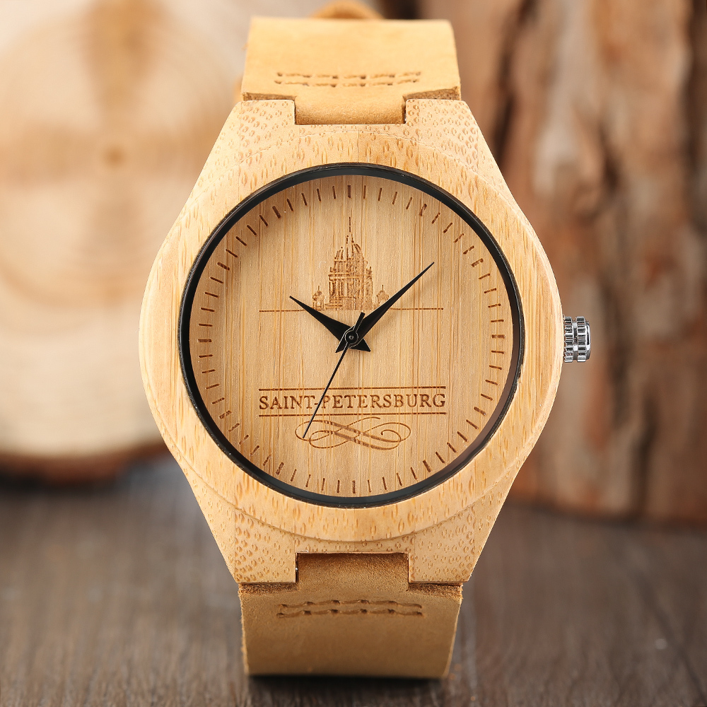 Fashion Saint Petersburg Pattern Nature  Bamboo Wood Wrist Watches Mens Soft Brown Genuine Leather Band Simple Trendy Gift saint petersburg for visitors