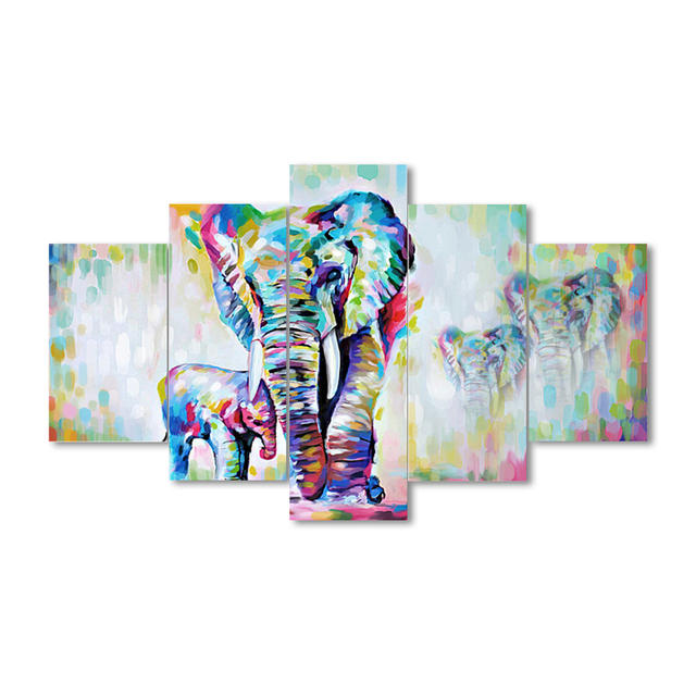 5 Pieces Canvas Painting African Modern Art Elephants Living Room Wall  Decor Pictures Handmade Landscape Oil