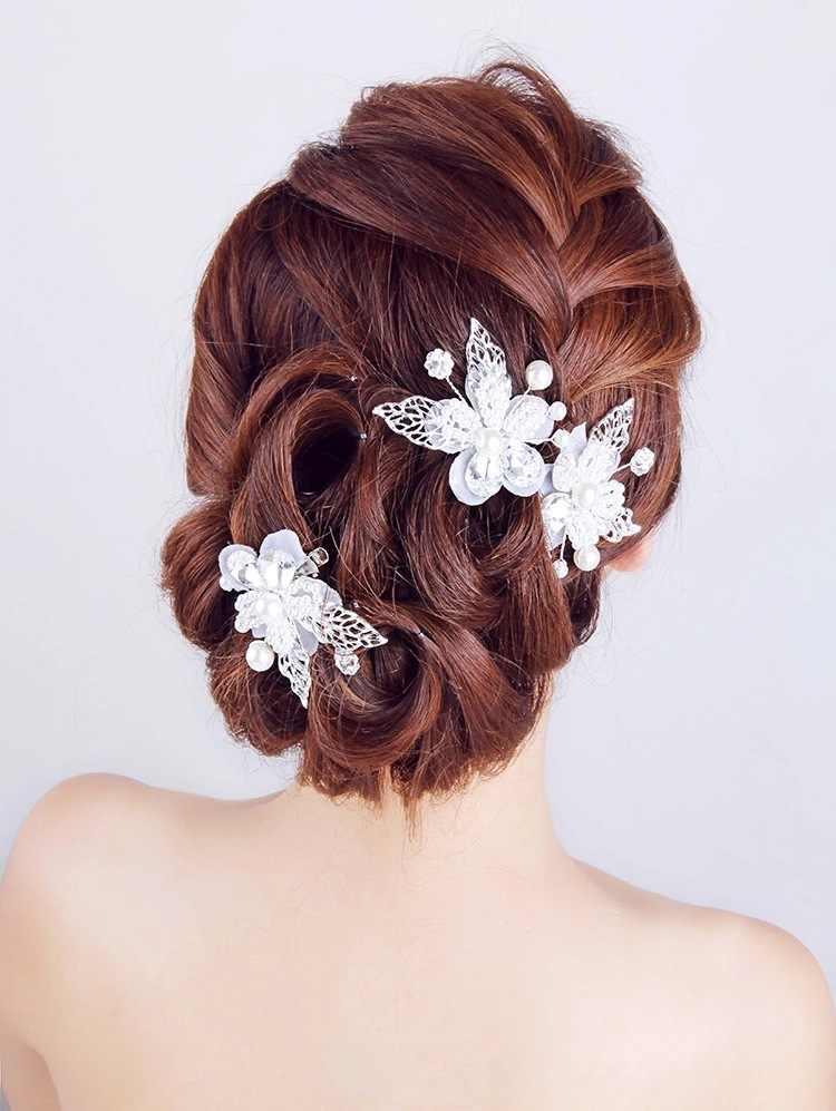 1PCS Braut Haar Clip Kristall Floral Metall Blatt Haarspange Hochzeit Kopfschmuck Haar Zubehör Hochzeit Haar Schmuck Braut Kopfschmuck