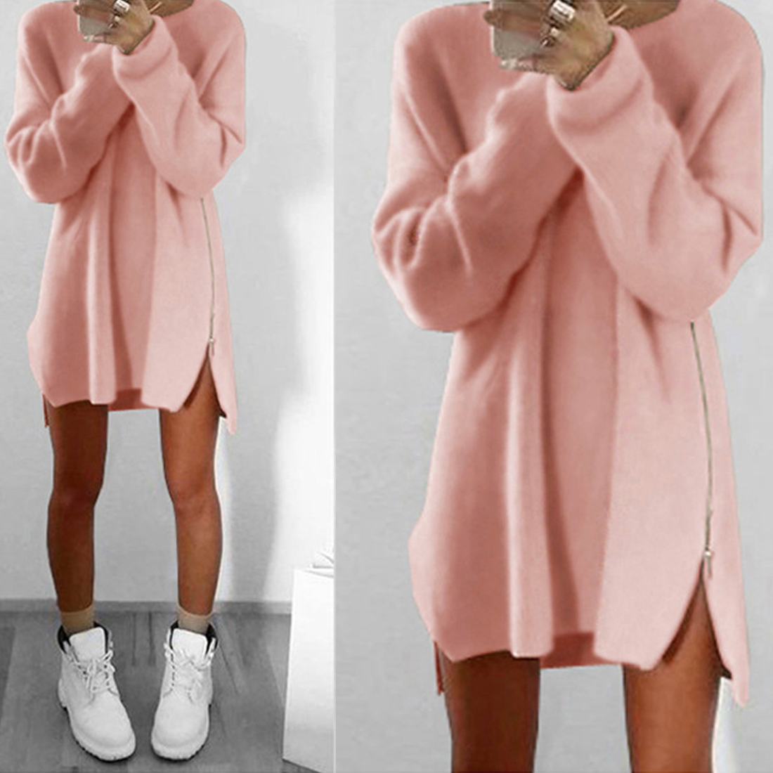 Knitted Dress Sweaters Turtleneck Long-Sleeve Streetwear Loose Slim Plus-Size Winter title=