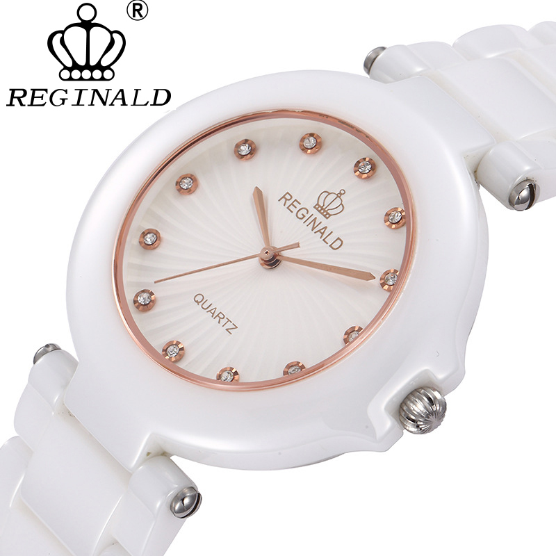REGINALD Toppar Luxury Ceramic Watch Kvinnor Mode Safir Vattentät - Damklockor