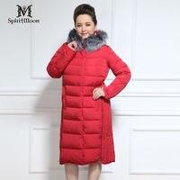 SpiritMoon 2016 New Arrival Women Down Jacket Lengthen Thick Coat Fox Fur Warm Bio Fluff Sintepon