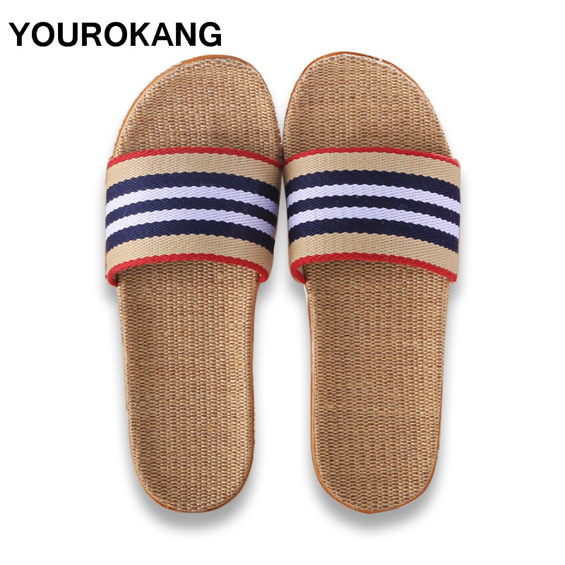 2019 Summer Flax Men Home Slippers Indoor Floor Shoes Unisex Striped Silent Sweat Couple Slipper Fashion Male Sandals Flip Flops