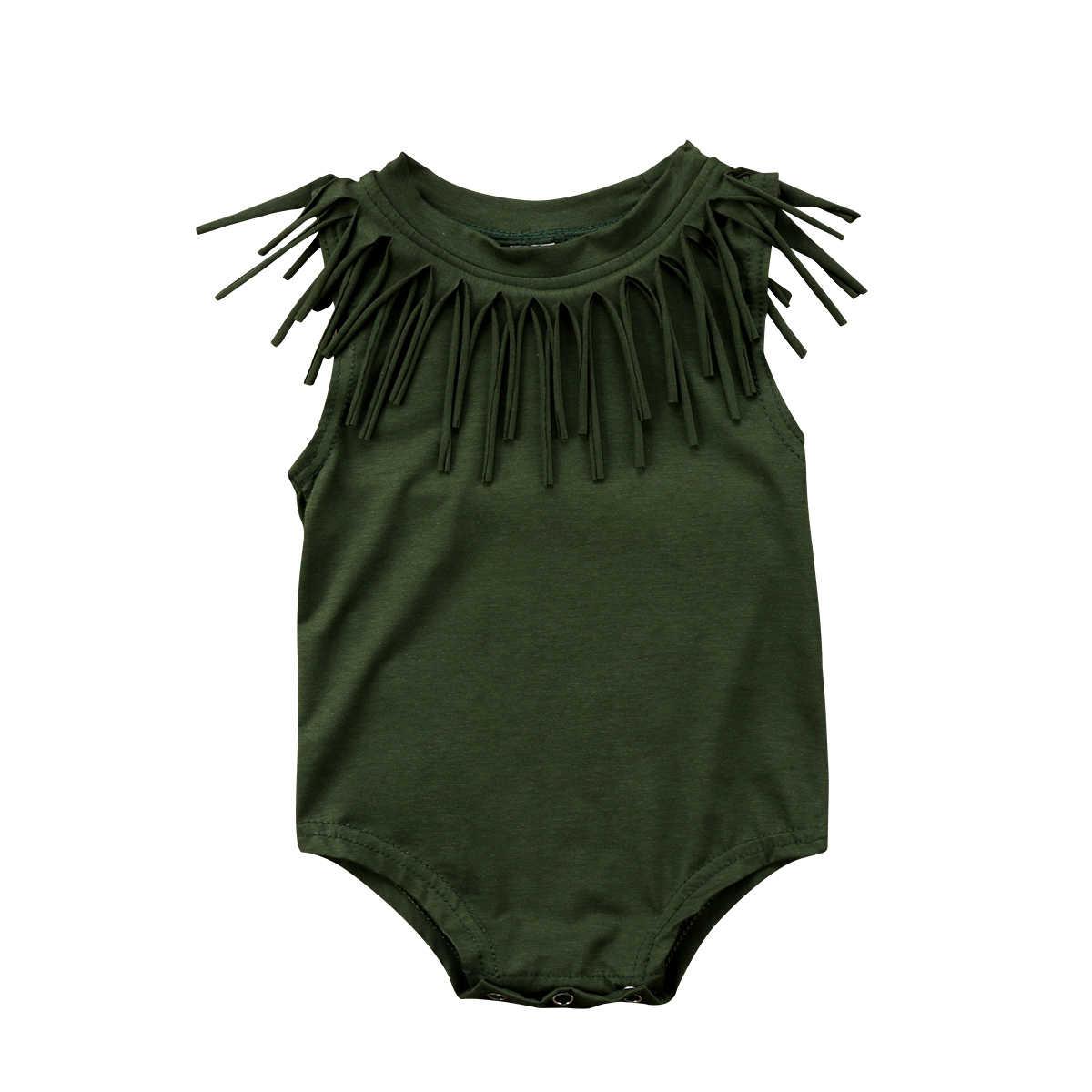 Одежда для маленьких девочек Малыш Обувь для девочек Винтаж TASSEL Romper черный/Армейский зеленый комбинезон хлопковая одежда летние Одежда для малышек