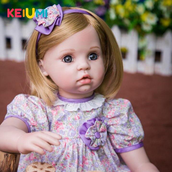 Здесь можно купить  KEIUMI Cute Baby Doll Toys Realistic 24 In Silicone Reborn Baby Girl For kids Birthday Gifts 60 cm Stuffed Dolls PP Cotton Body  Игрушки и Хобби