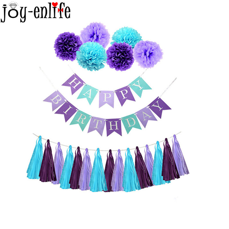 "Mermaid Party Decorations Glitter ""Happy Birthday"" Banner"
