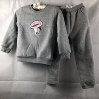 Nieuwe kinderkleding winter baby jongen sport fluwelen sweater jas + broek sets kinderen kleding past GW267