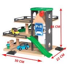 Auto Track Liften Houten Spoor Parkeergelegenheid Compatibel Met Brio Houten Spoorlijn Kinderen Inertiële Hand Schuiven Speelgoed