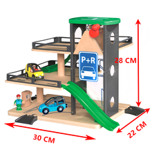 Car track lifts Wooden track parking compatible with Brio Wooden train track Childrens inertial hand sliding toys