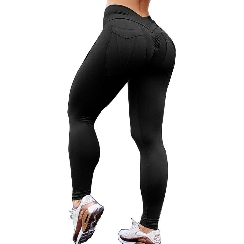 NORMOV Women Fitness Leggings High Waist Push Up Polyester Soild Pocket Leggings Ankle Length Female Workout Leggings 7 Color