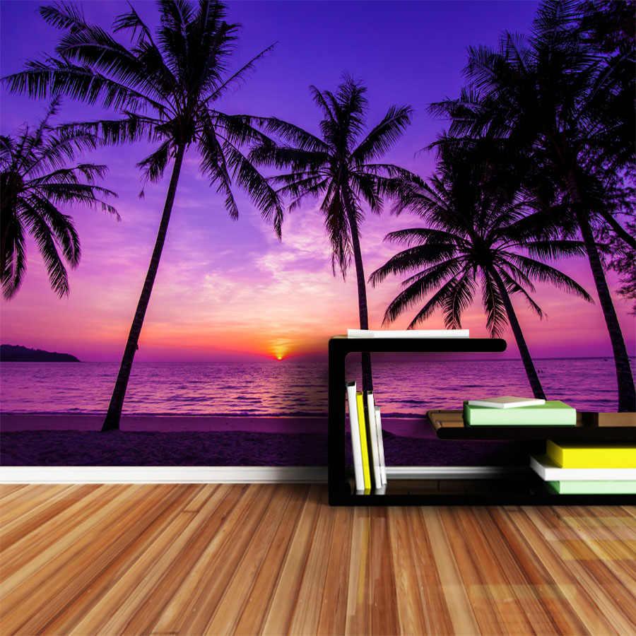 Shinehome 大型カスタム3d写真壁紙手のひらcocoツリー海ビーチ日没壁紙
