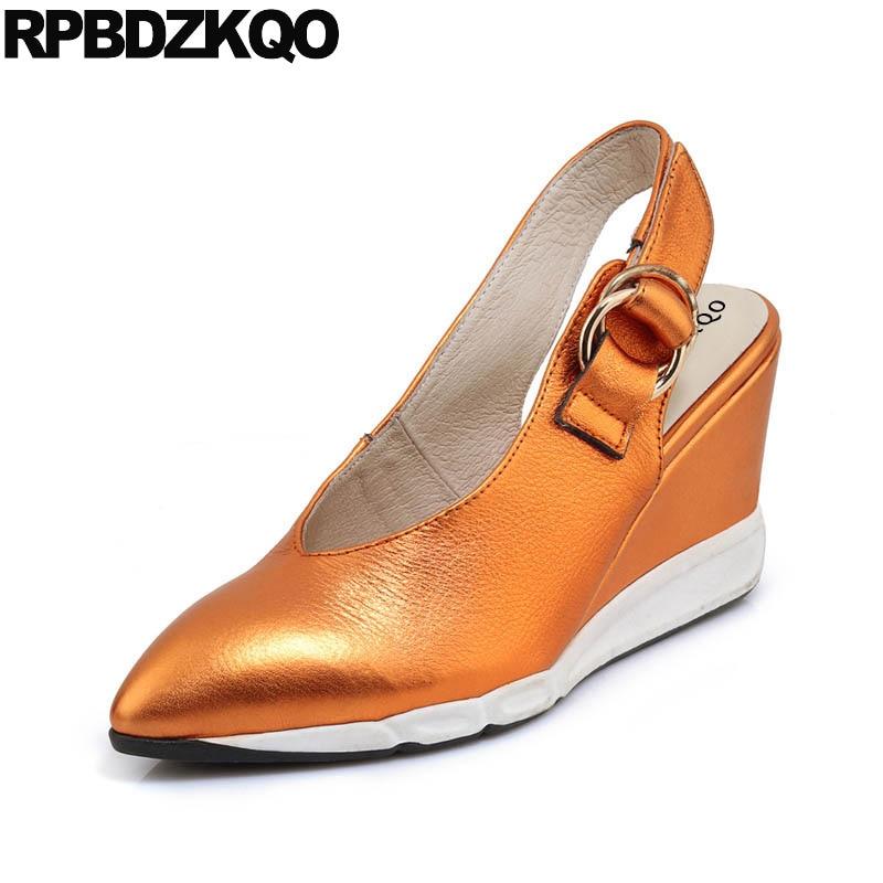 Designer Closed Toe Pumps Spring Slip On Ladies Gold Wedge Women Sandals 2018 Summer Slingback Strap Shoes High Heels Orange pu closed toe color block slingback shoes