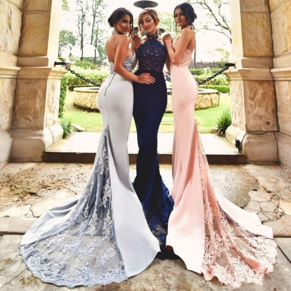 Backless 2019 Cheap   Bridesmaid     Dresses   Under 50 Mermaid Halter Lace Beaded Pink Long Wedding Party   Dresses   For Women