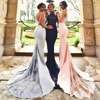 Backless Cheap Bridesmaid Dresses Under 50 Mermaid Halter Lace Beaded Pink Long Wedding Party Dresses For Women