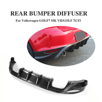 O Style carbon fiber Rear Bumper Diffuser Lip Spoiler for Volkswagen VW Golf 7 VII GTI 2014 2016 Car Tuning Parts