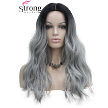 StrongBeauty Heat Ok Ombre Black to Grey Wavy Long Synthetic Wig Not Cut Small Edge Lace Front COLOUR CHOICES