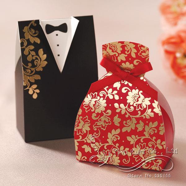 100pcs Wedding Favor Candy Box Bride Groom Dress Tuxedo