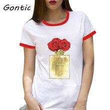 Red Roses & Fashion Perfume Bottle Paris fashion women clothes  camisetas mujer summer 2019 vintage t shirt korean tops