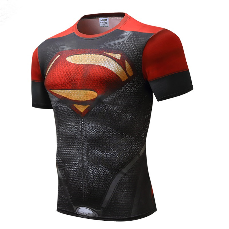 2018 marvel batman compression shirt fitness tights crossfit quick dry short sleeve t shirt Summer Men tee tops clothing