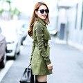 Outono Casaco Para Mulheres de Slim Trespassado Outwear Casaco Plus Size Casacos Longos Casaco Feminino Lapela Trincheira Casaco C1892