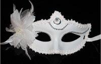 10 adet başına lot Elmas ile beyaz plastik tüy Masquerade yarım yüz Maskesi