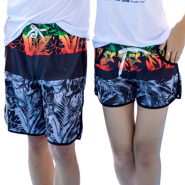 65093f1a06 H.S.F.Q Men & Women Quick Dry Beach Shorts Clothing Summer Swimwears Lovers  Flower Boardshorts Couples Surf Sport Board Shorts