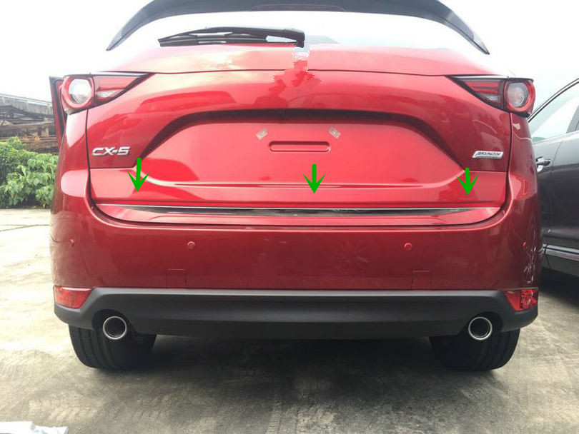 1pcs Accessories NEW! ABS Chrome Rear Trunk Gate Lid Cover Trim Molding for Mazda CX 5 CX-5 2017 3pcs abs chrome rear bumper molding cover trim for mazda 3 mazda3 axela 2014 2015