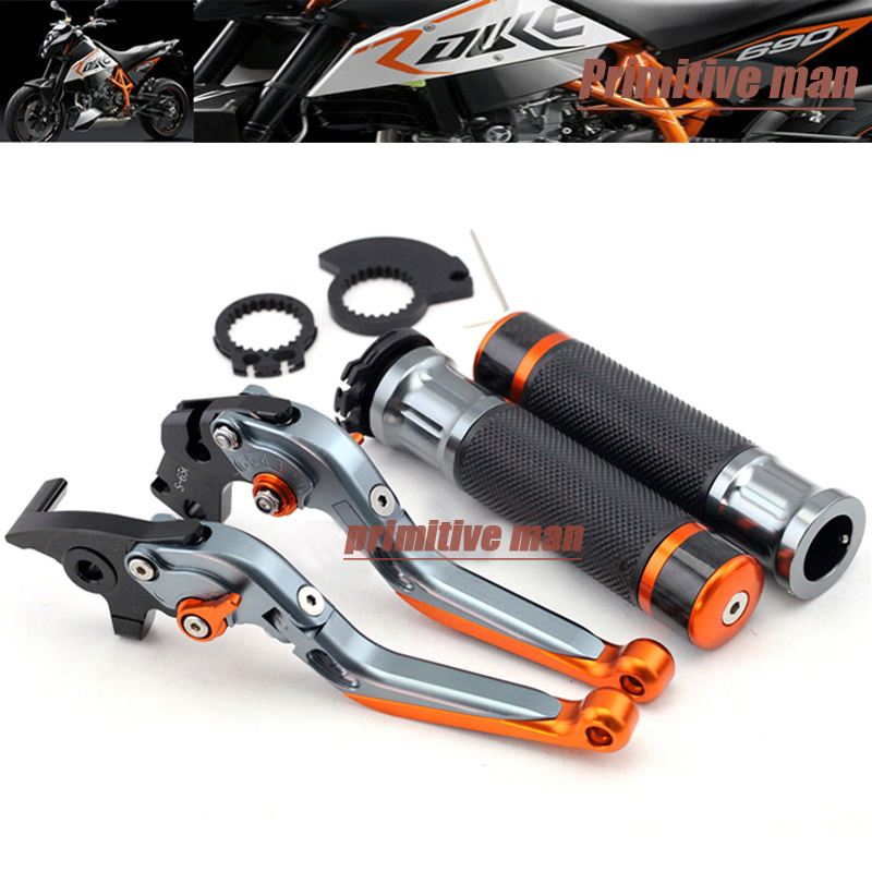 For KTM DUKE 125/200/390 2012 2013 2014 2015 Motocycle Accessories Adjustable Folding Brake Clutch Levers Handlebar Hand Grips billet alu folding adjustable brake clutch levers for motoguzzi griso 850 breva 1100 norge 1200 06 2013 07 08 1200 sport stelvio