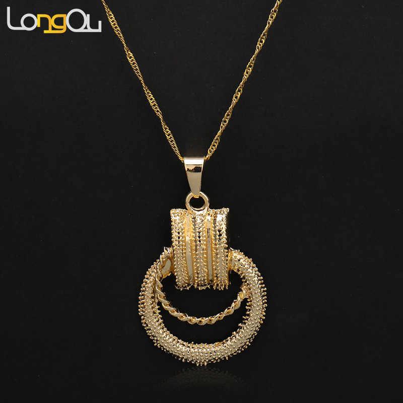 תכשיטי תכשיטים 2018 לנשים שרשרת עגילי תליון זהב-צבע כדורי עבור מסיבת חתונה יומי ללבוש. לשלוח שרשרת
