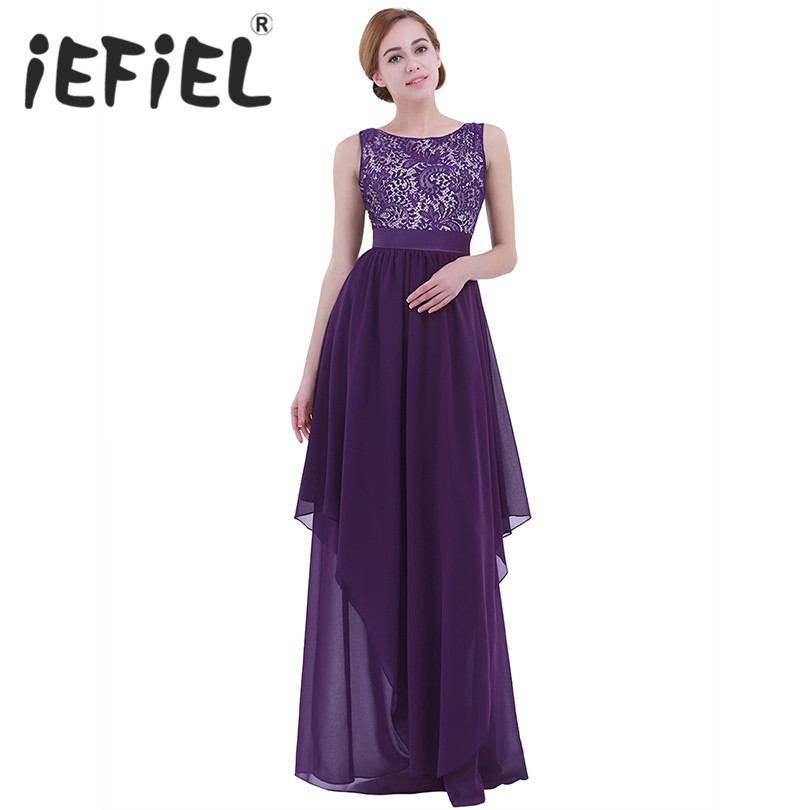 iEFiEL Women Ladies Elegant Summer Maxi Lace Ball Gowns Dress Backless Dress Fashion Pageant Princess Formal Occasion Dresses