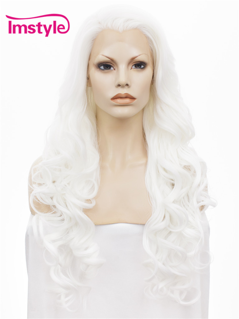 "Imstyle Wavy Synthetic White color 26"" lace front wig"