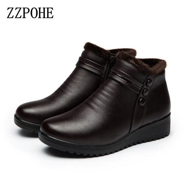 ZZPOHE 2017 Moda Kış Çizmeler Kadın Hakiki Deri Ayak Bileği Sıcak Botlar Anne sonbahar peluş kama ayakkabı Kadın ayakkabı Büyük Boy 35-41