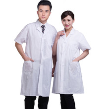 Summer Unisex White Lab Coat Short Sleeve Pockets Uniform Work Wear Doctor Nurse Clothing SSA-19ING