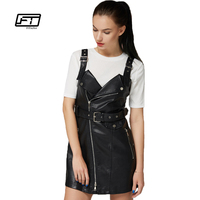 Fitaylor New Autumn Leather Overall Dress Women Soft PU Faux Leather Dresses Sexy Turn down Collar Slim Retro Black Short Dress