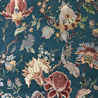 Deluxe Dark Green Flower Thick Polyester Rayon Chenille Floral Curtain Woven Sofa Upholstery Fabrics Vintage Cloth