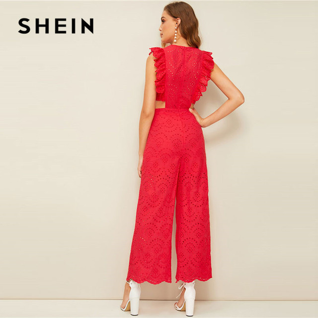 SHEIN Red Ruffle Trim Cut Out Waist Eyelet Embroidered Wide Leg Jumpsuit Women Clothes 2019 Summer Sleeveless Sexy Jumpsuit 1