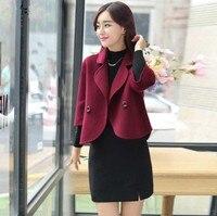 Autumn Winter 2017 New Fashion Slim Elegant Short Woolen Coat Solid Color Plus Size S 3XL