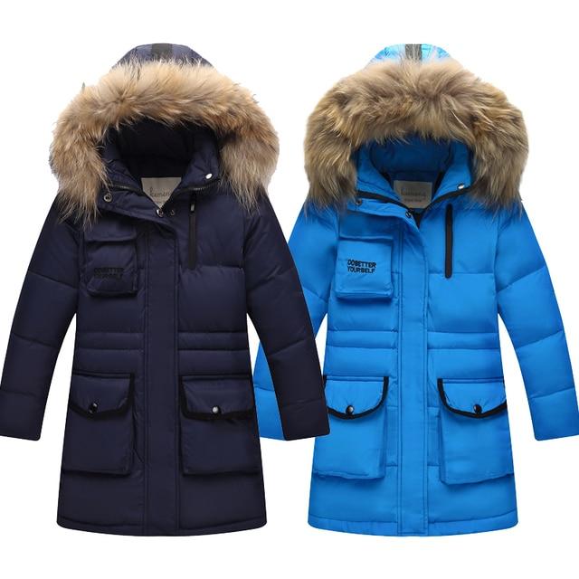 Fashion Winter Children down Jackets Outerwear&Coats fur long model warm Big Boy jackets Down Parkas Kids duck down jacket