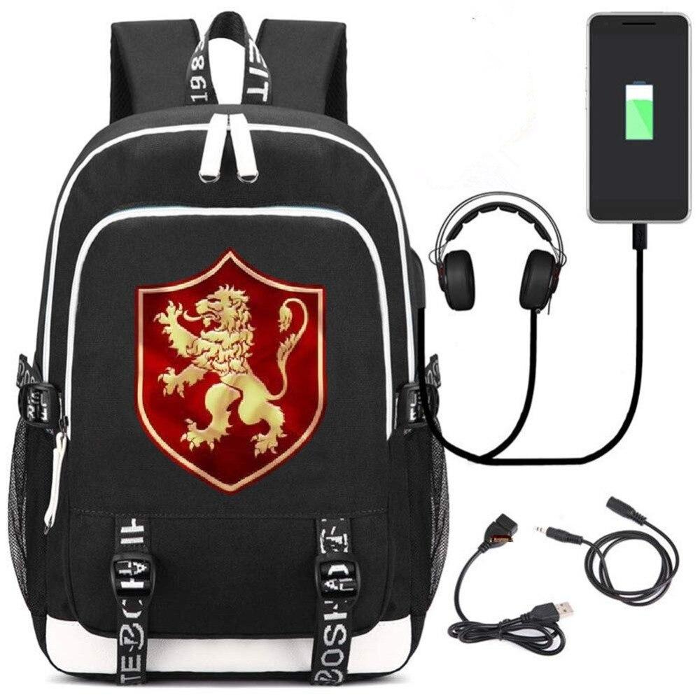 Game of Thrones Cartoon backpack for teenagers School Bags Men women's travel Laptop Shoulders Bags multifunction USB charging