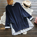 Plus Size Women Casual Sweet Loose Nine Quarter Sleeve Bow Patchwork Loose Soft Fake Two Pieces Female Sweatshirt Mori Girl U546