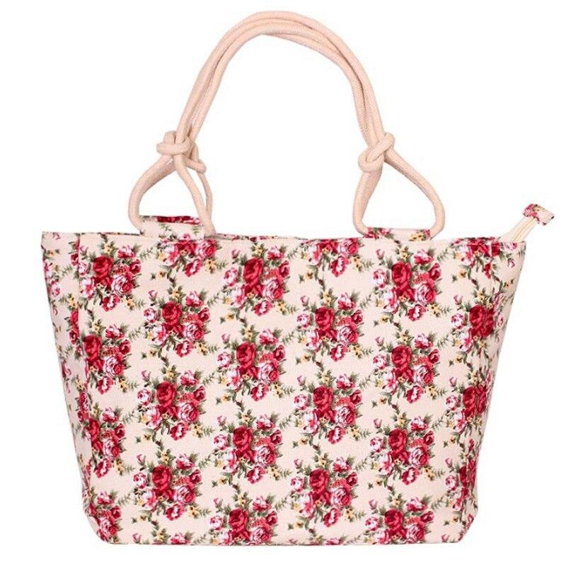 2019 Fashion Folding Women Big Size Handbag Tote Ladies Casual Flower Printing Canvas Graffiti Shoulder Bag Beach Bolsa Feminina 4