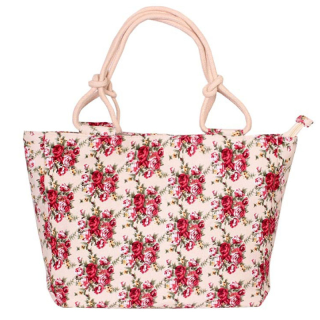 Folding Casual Flower Printing Canvas Graffiti Tote Shoulder Bag