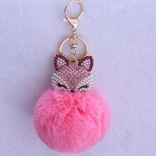 PINXIU Rex rabbit Fur Ball Keychain Fox Head Inlay Rhinestone Car Key Chain Handbag Key Ring Delicate 2017 New Gift YSK6